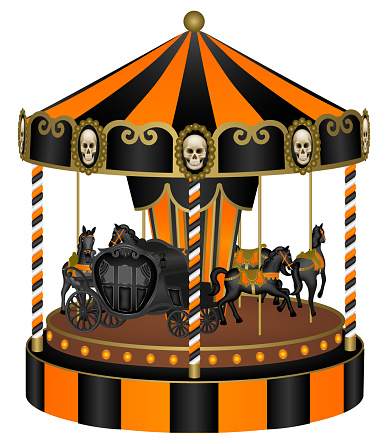 halloween carousel with black horses and old carriage