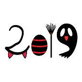 Halloween cartoon 2019 decorative word graphic clip art
