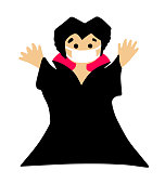 halloween cartoon character in covid-19 pandemic. scary cute Count Dracula in a protective mask.
