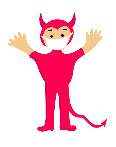 halloween cartoon character in covid-19 pandemic. scary cute demon in protective mask.