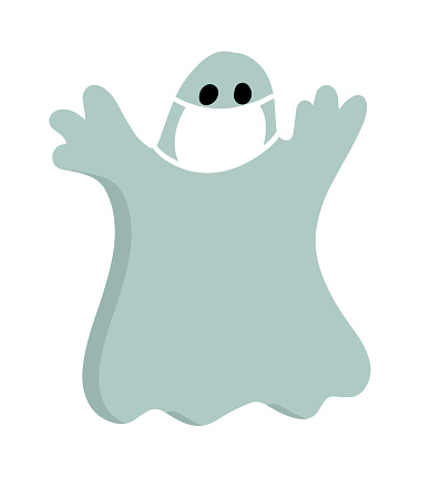 halloween cartoon character in covid-19 pandemic. scary cute ghost in protective mask.