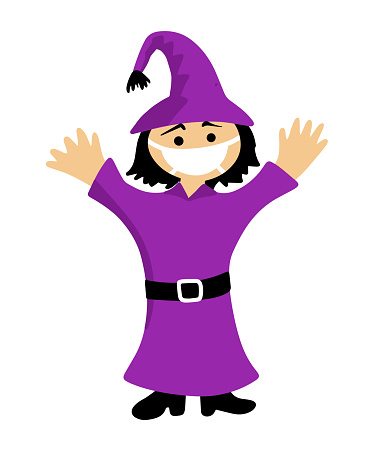 halloween cartoon character in covid-19 pandemic. scary cute witch in protective mask.