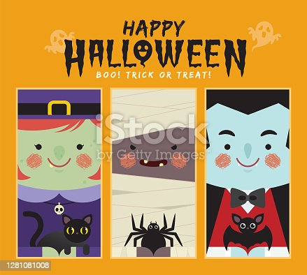 istock Halloween cartoon character:  witch, black cat, mummy, spider, vampire & bat 1281081008