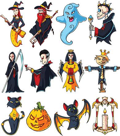 Halloween Cartoon Characters Set Stock Vector Art More Images Of
