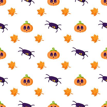 Halloween cartoon cute seamless pattern