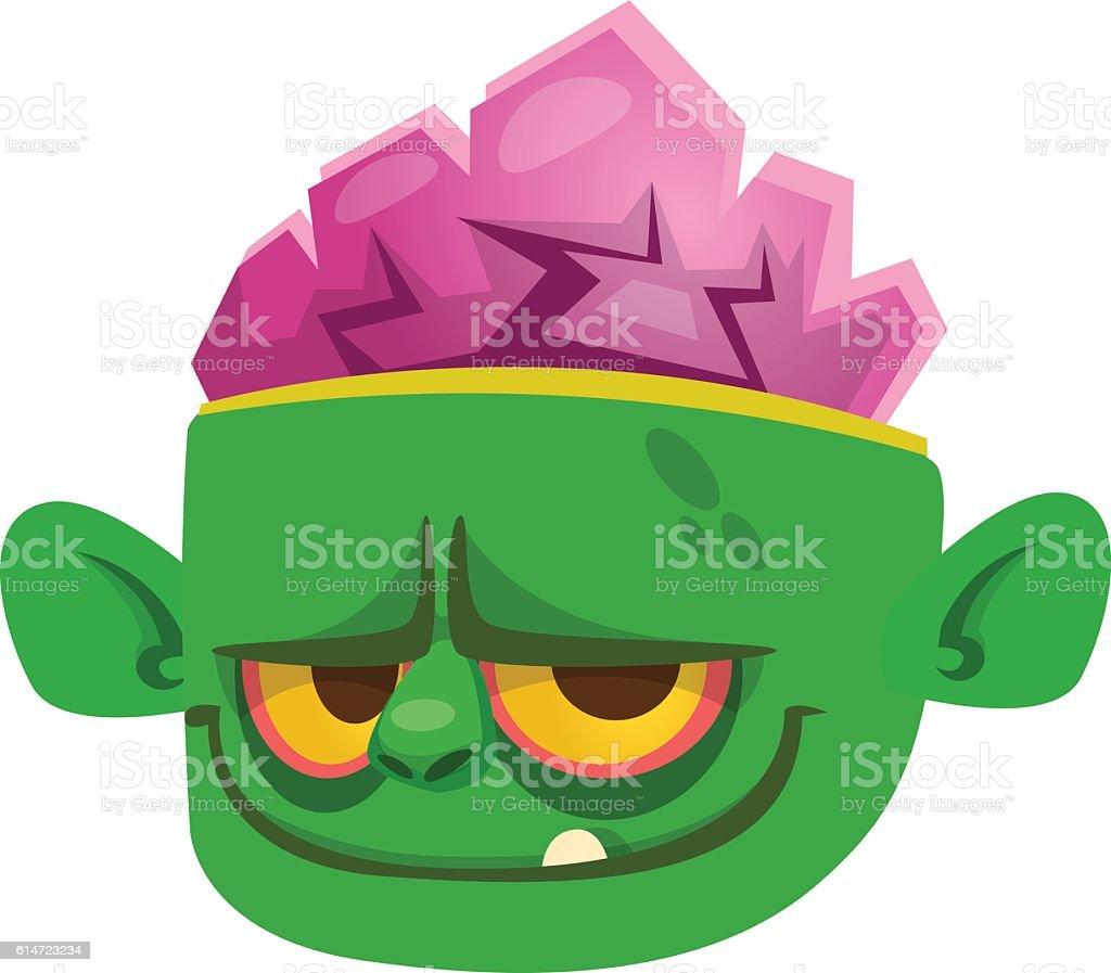 Halloween cartoon monster face. Icon of vector monster head vector art illustration