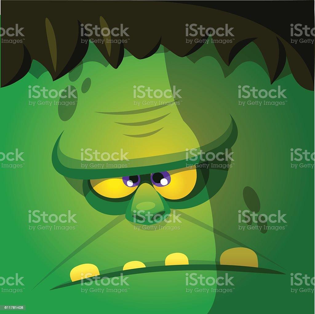 Halloween cartoon monster face. Square icon of vector monster vector art illustration