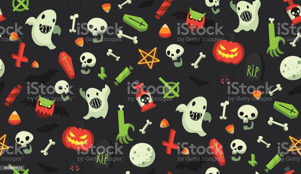 Halloween cartoon pattern vector art illustration