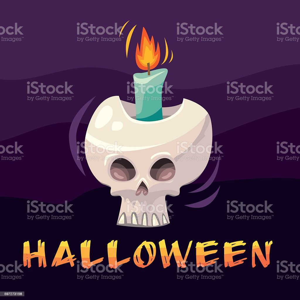 Halloween cartoon skull candlestick royalty-free halloween cartoon skull candlestick stock vector art & more images of arts culture and entertainment