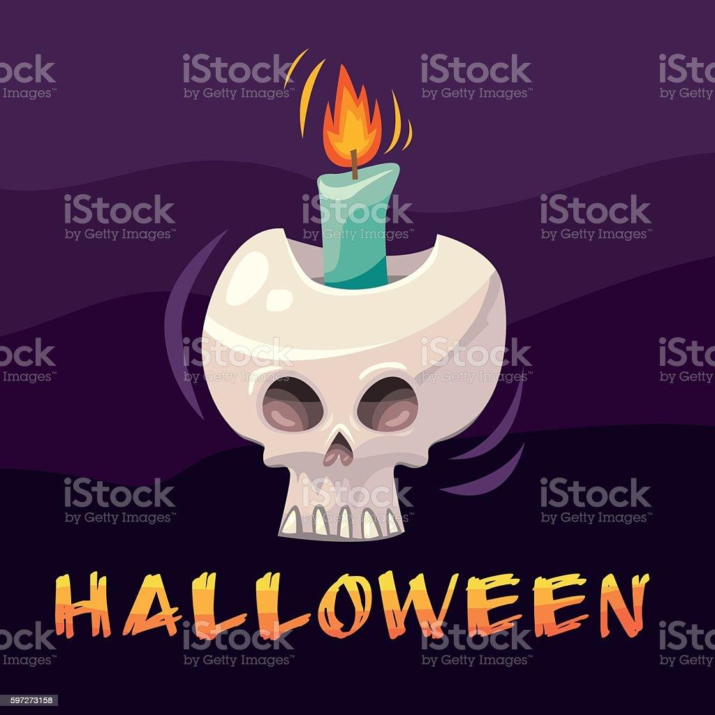 Halloween cartoon skull candlestick Lizenzfreies halloween cartoon skull candlestick stock vektor art und mehr bilder von comic - kunstwerk