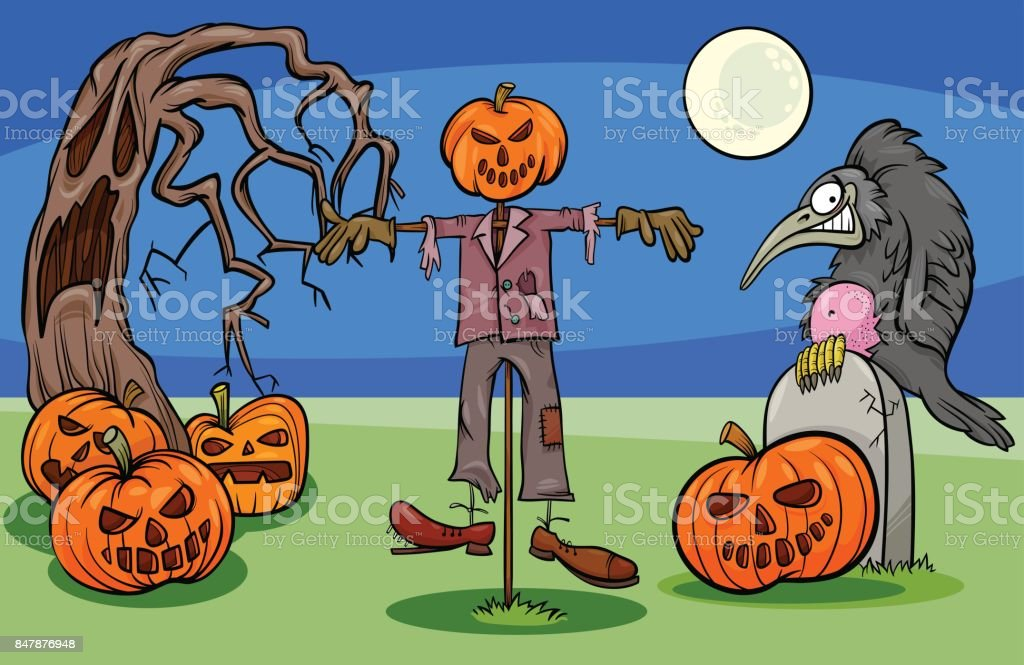 Halloween Cartoon Spooky Characters Group vector art illustration