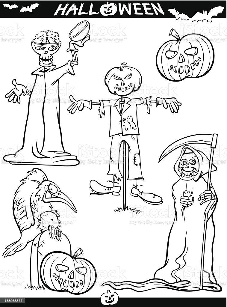Vetores De Halloween Temas Dos Desenhos Animados Para Colorir
