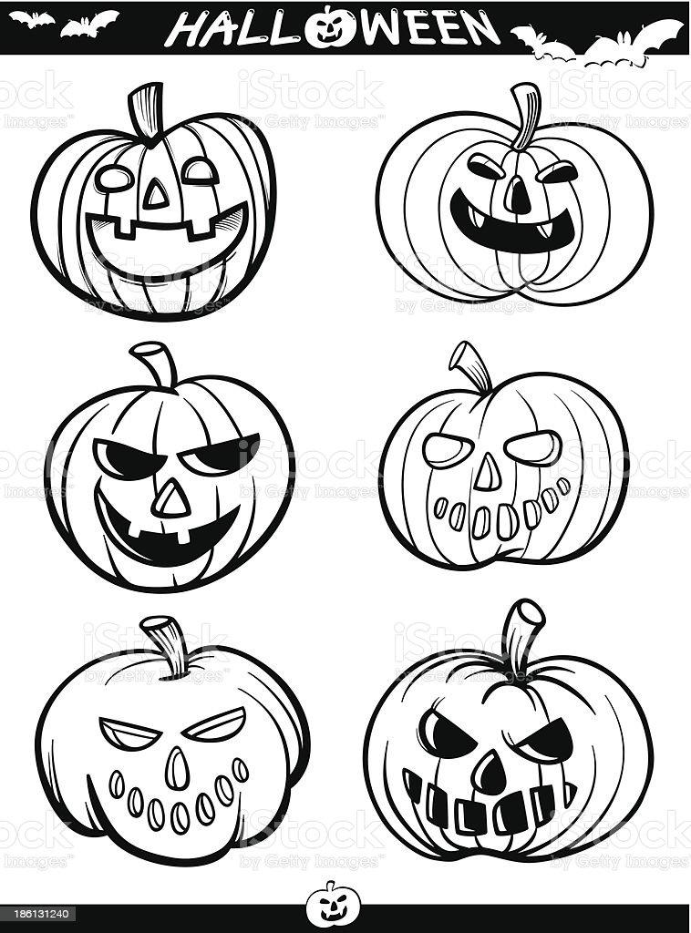 Halloween De Dibujos Animados Temas Del Libro Para Colorear - Arte ...