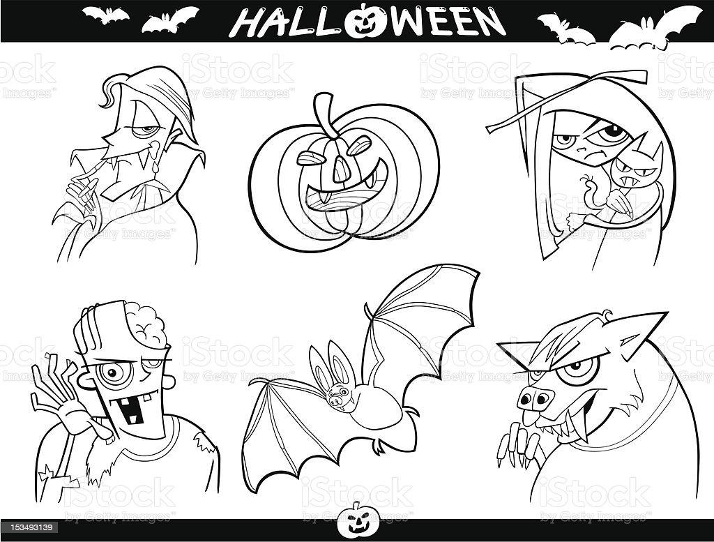 Halloween De Dibujos Animados Temas Para Colorear - Arte vectorial ...