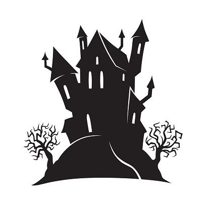 Halloween cartoon witch house