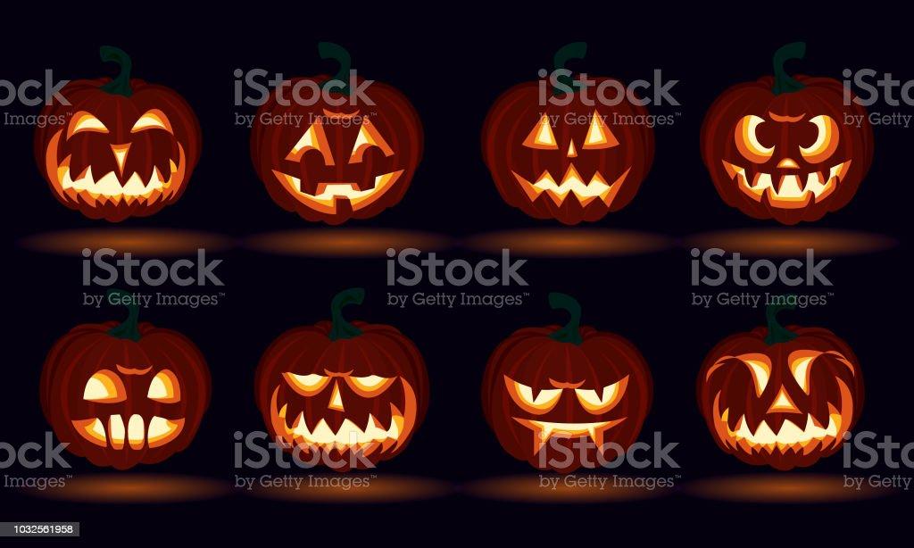 Halloween Carved Pumpkin Face Emotions Set Jack O Lanterns Design Number Royalty Free