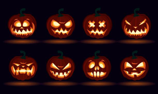Halloween carved pumpkin face emotions set jack o lanterns design set number Halloween carved pumpkin face emotions set jack o lanterns design set number pumpkin stock illustrations
