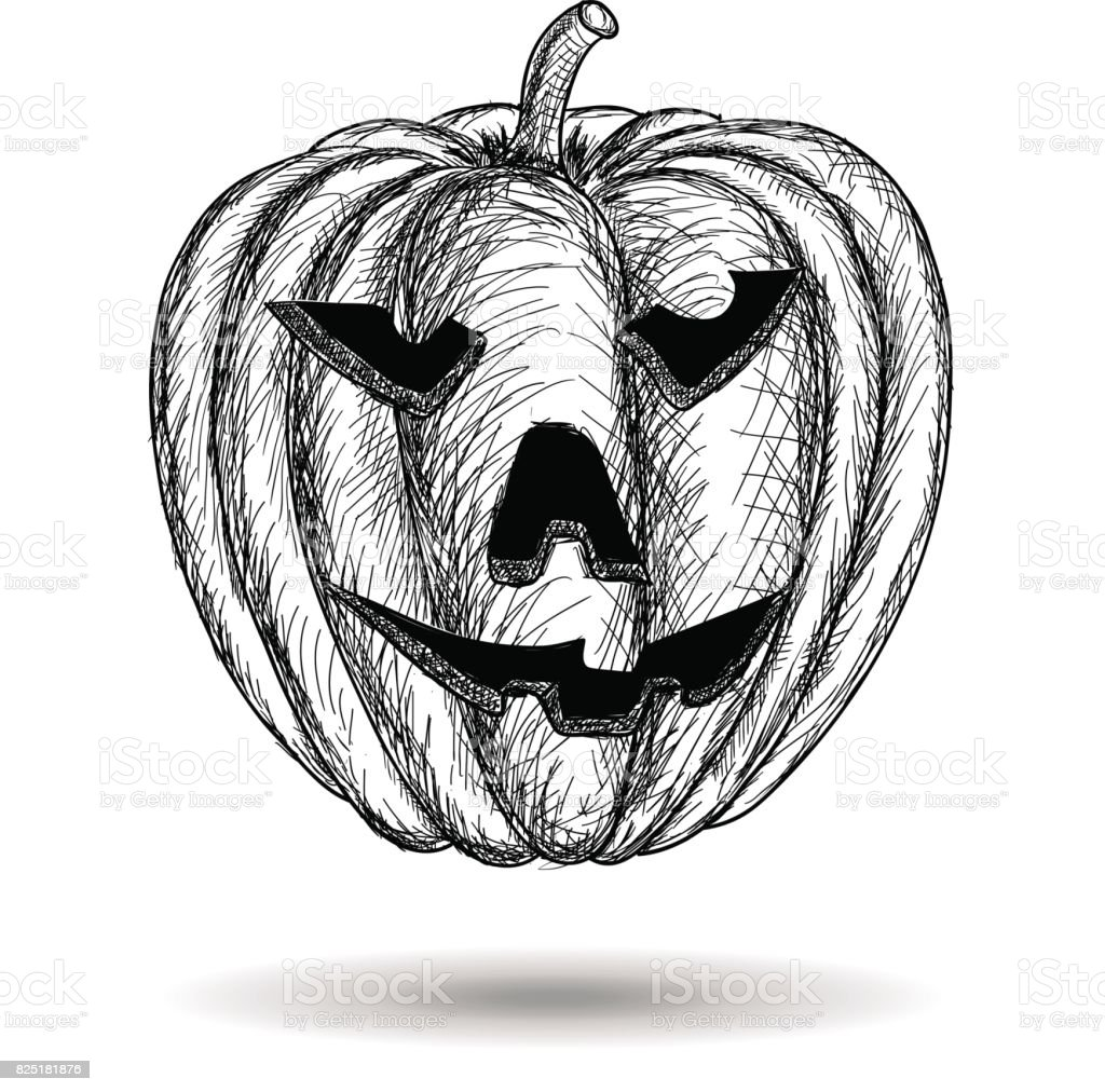 Halloween kürbis geschnitzt hand gezeichnete skizze vektor