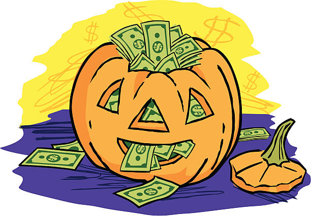Halloween Cash Jack 'o Lantern stuffed with cash stuffed stock illustrations
