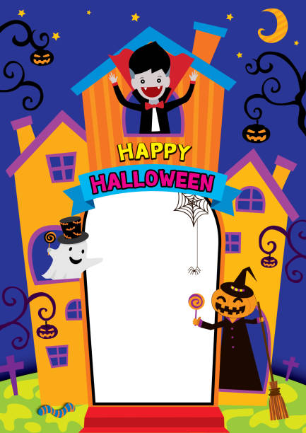 Halloween castel Illustration vector of Halloween castel design for frame template and photo booth on party. spooky halloween town stock illustrations