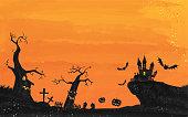 Halloween castle and graveyard landscape illustration, watercolor style grunge Vector illustration