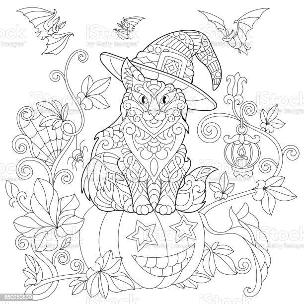 halloween cat and pumpkin vector id