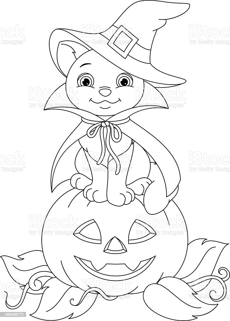 Halloween Cat Coloring Page Stock Illustration Download Image Now Istock