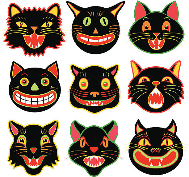 Halloween cat heads Vector illustrations of a various Halloween black cats. halloween cat stock illustrations