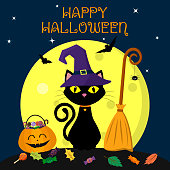 A Halloween cat in a witch hat sits against a full moon at night. Near the broom, pumpkin with sweets and leaves, volatile vampires and stars. The autumn holidays.