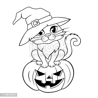 istock Halloween cat in a witch hat sitting on halloween pumpkin. Black and white illustration for coloring book 1178213741