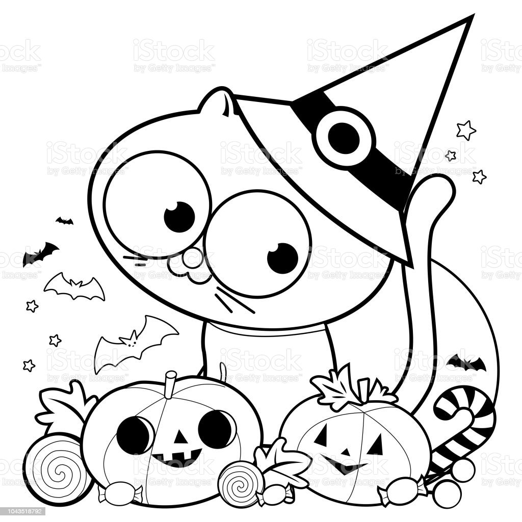 Halloween Cat Pumpkins And Treats Black White Coloring Book Page Royalty Free