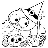 Halloween cat, pumpkins and treats. Black and white coloring book page