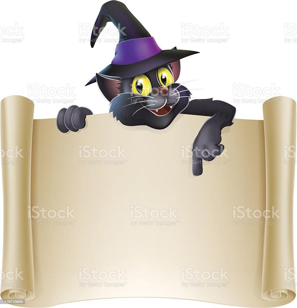 Halloween cat scroll sign royalty-free stock vector art