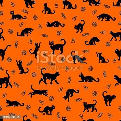 istock Halloween Cat Seamless Pattern 1054988120