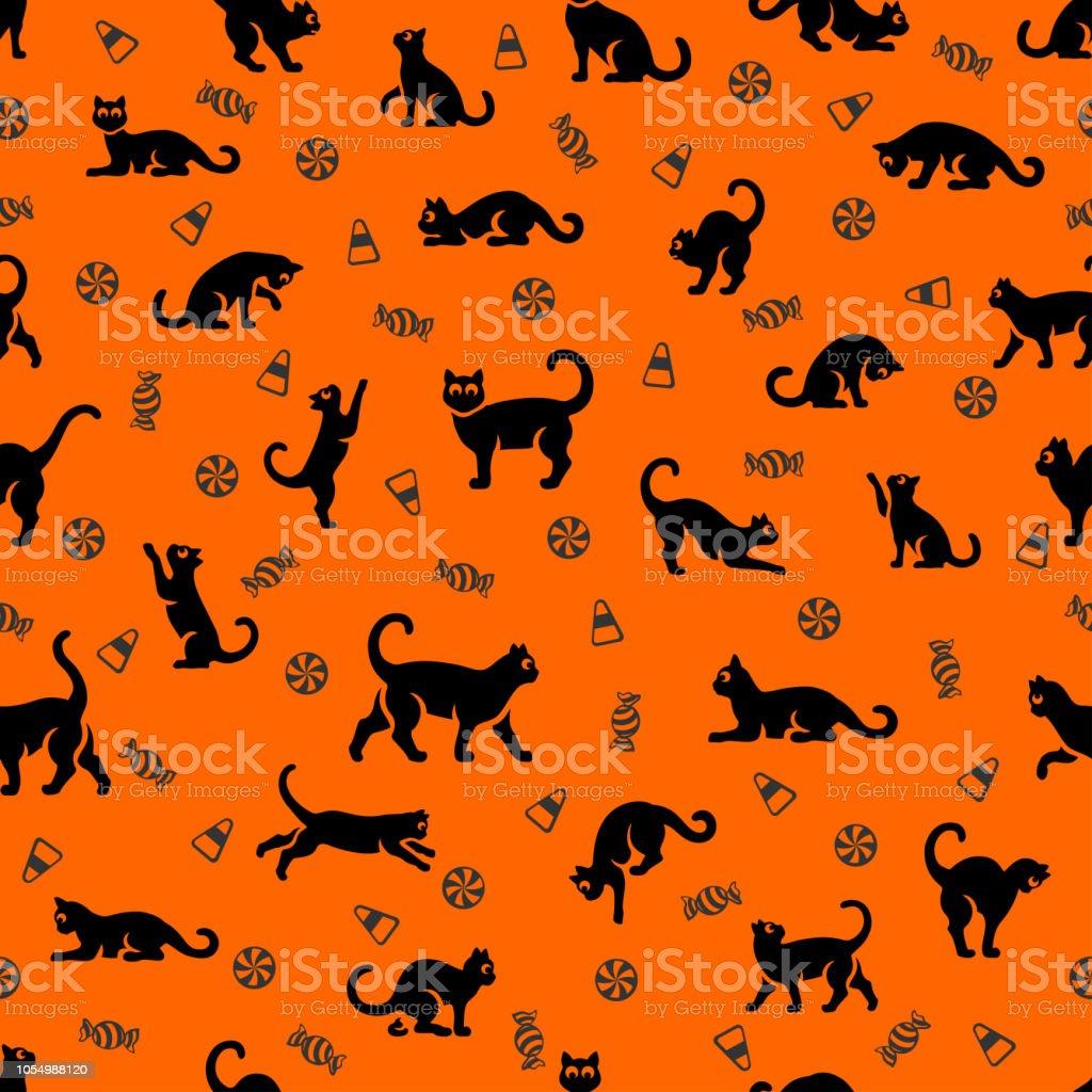 Halloween Cat Seamless Pattern vector art illustration