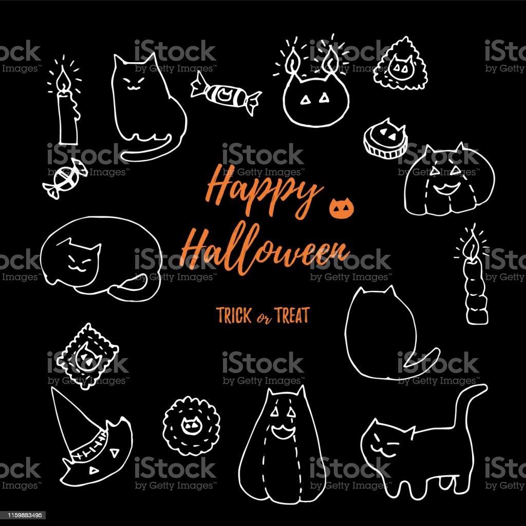 Halloween cat vector set. Hand drawn chalk doodles. Kitties, treats,...