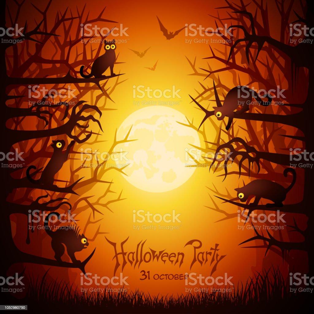 Halloween Cats vector art illustration