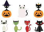 Set of seven different cats in Halloween costumes, includes a witch, a ghost, a pumpkin, a mummy, a monster, a devil, and a vampire.