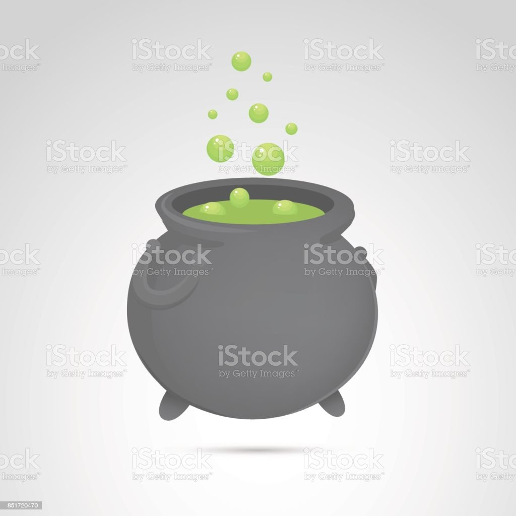 Halloween cauldron icon isolated on neutral background. vector art illustration