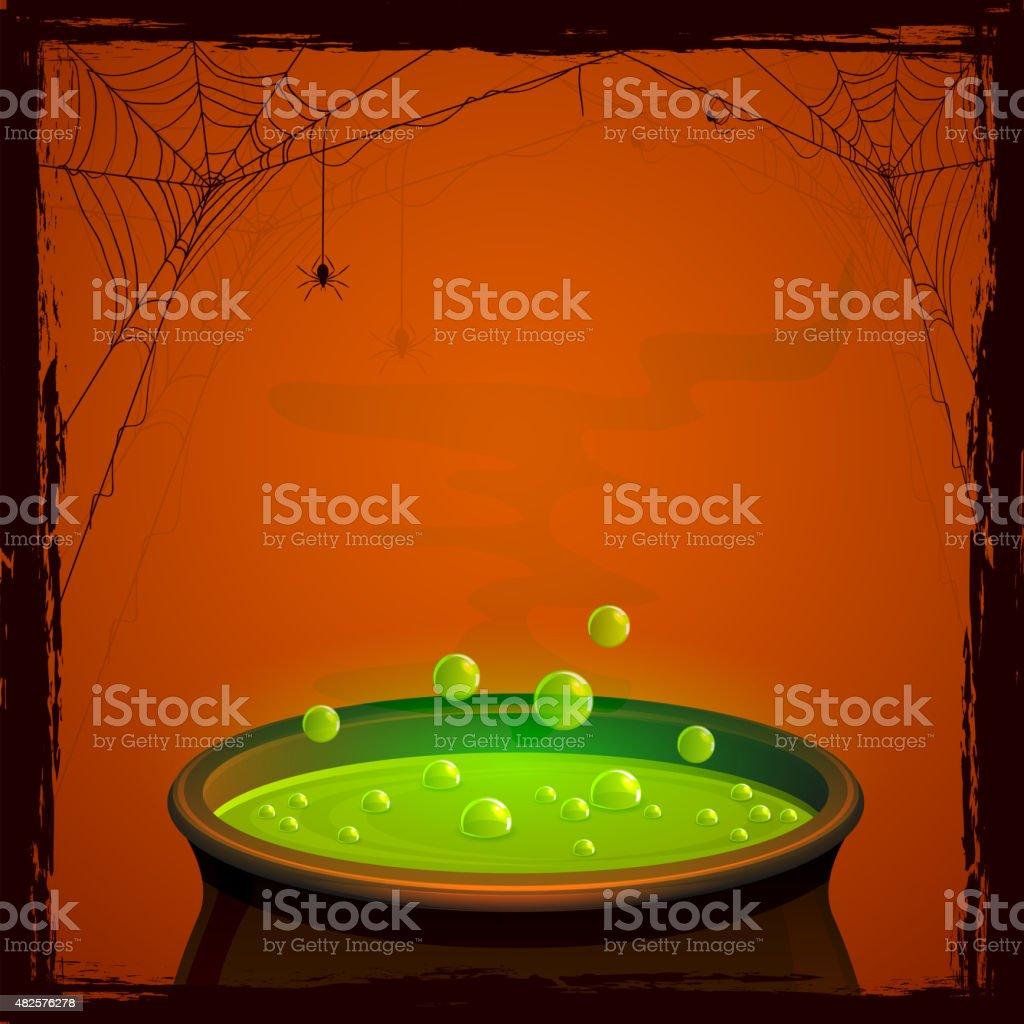Halloween cauldron with potion vector art illustration