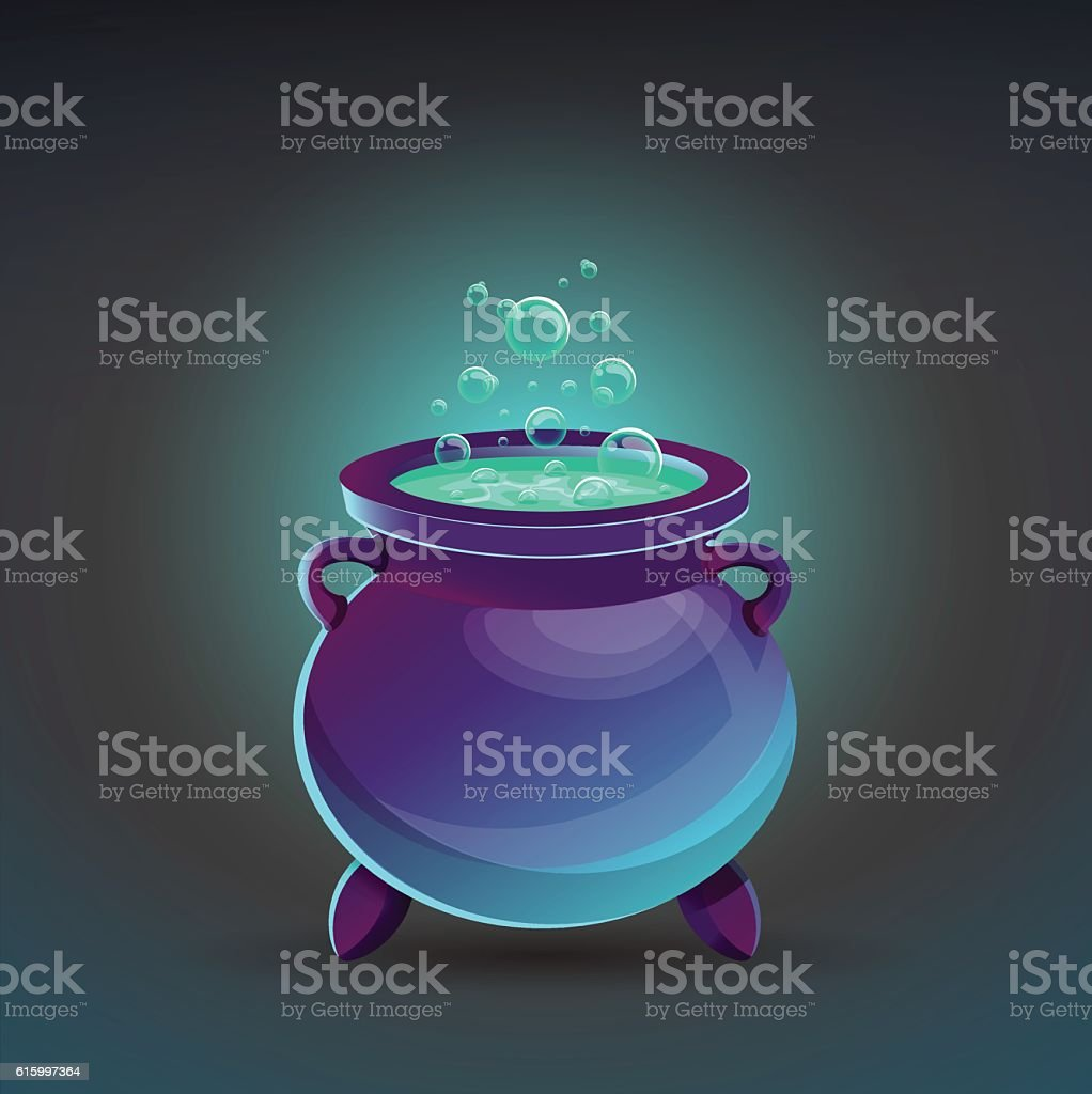 Halloween cauldron with potion. Vector illustration. vector art illustration