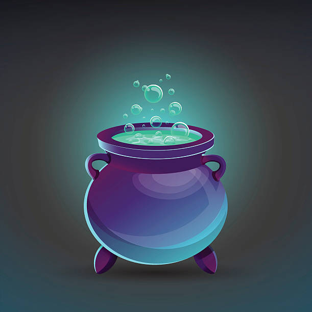 Halloween cauldron with potion. Vector illustration. Halloween cauldron with potion. Vector illustration. potion stock illustrations