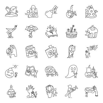 Halloween Celebration Doodle Vectors Pack