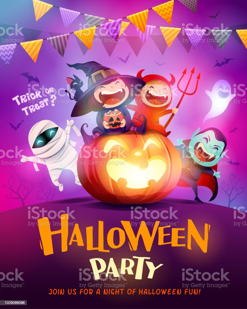 Halloween Celebration Fun Party. Group of kids in Halloween costume sitting on a giant pumpkin. vector art illustration