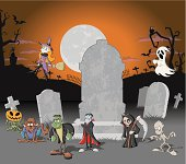 Halloween cemetery background with tombs and funny cartoon classic monster characters. EPS 10 and transparency.
