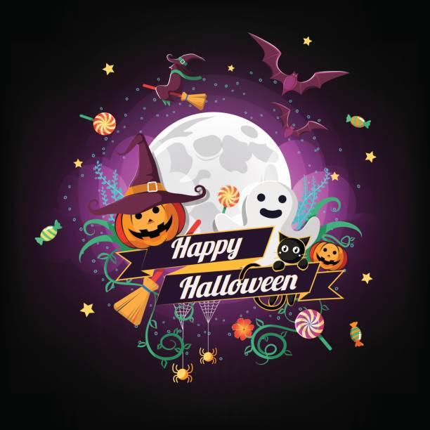 bildbanksillustrationer, clip art samt tecknat material och ikoner med halloween tecken och element design fullmåne bakgrund, vektorillustration - ljus på grav