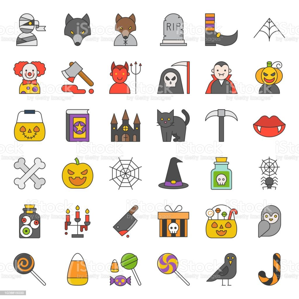 Halloween Character And Spooky Things Icon Such As Ghost Candy Eye Balls Owl Spider Bone Devil Werewolf Filled Outline Icon Editable Stroke Stock Illustration Download Image Now Istock