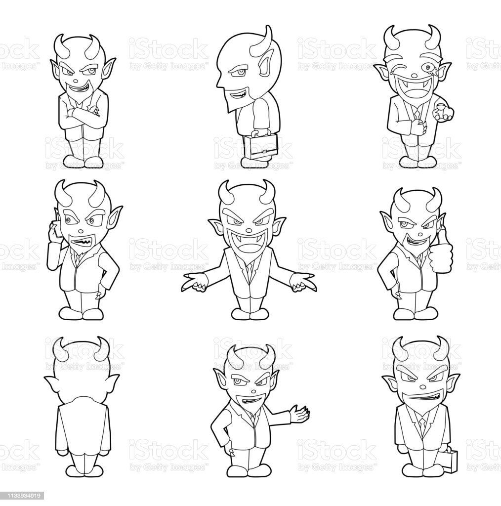 Halloween Character Big Head Poses Devil Businessman Coloring Book Stock Illustration Download Image Now Istock