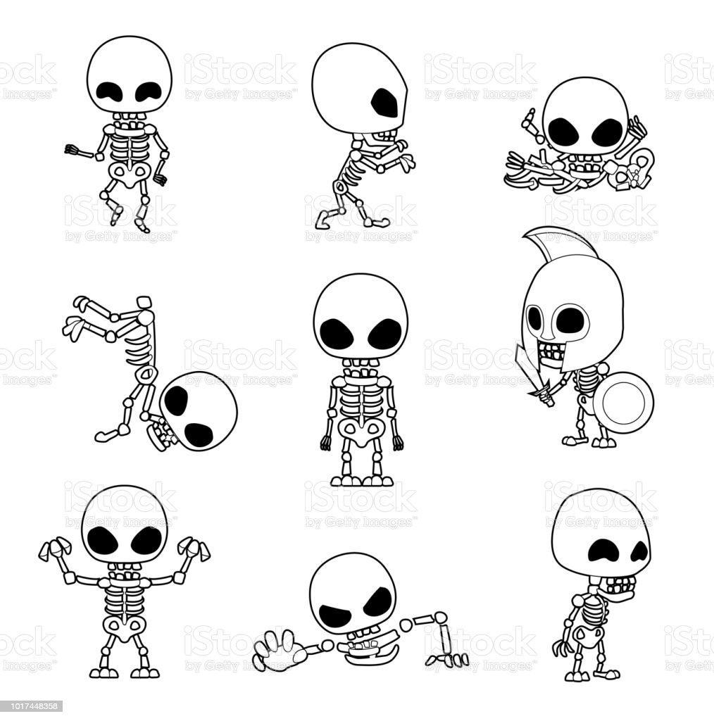 Halloween Character Big Head Poses Skeleton Coloring Book Stock ...