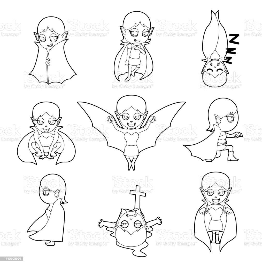 Halloween Charakter Big Head Poses Vampire Girl Coloring Book Stock ...